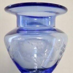 Beautiful Blue Etched Vase